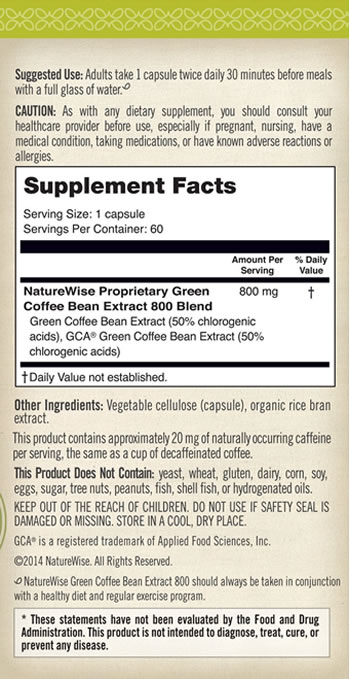 Side View of Naturewise Green Coffee Bean Extract 2