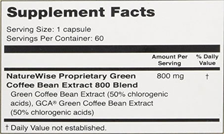 Supplement Ingredients in NatureWise Green Coffee Bean Extract