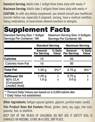 NatureWise CLA 1250 High Potency Natural Weight Loss Exercise Supplement Label
