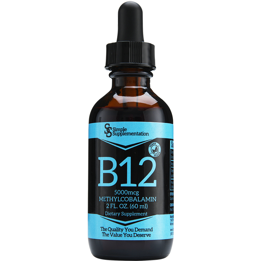 Simple Supplementation Vitamin B12 Liquid 5000mcg Sublingual Drops Vegan Methylcobalamin High Quality 1